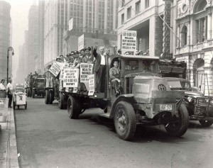 New York City Department of Sanitation employees go on strike for better wages and working conditions, 1950s.